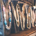 An assortment of colorful necklaces.